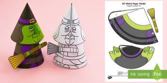 Simple Halloween 3D Activity Paper Craft English/French - halloween, witches, pumpkins, festivals, ks1 festivals, EAL French.,French-translation