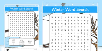 Winter Wordsearch - wordsearch, word search, words, winter, winter wordsearch activity, word game, games, literacy, wet play