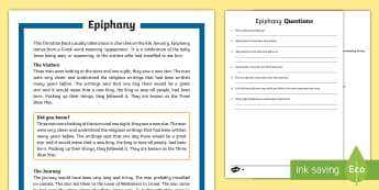 KS2 Epiphany Differentiated Reading Comprehension Activity - KS1/2 Epiphany (Jan 6th 2017), Christianity, Christian, feast, Three Wise Men, Three Kings, gold, fr