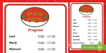 Programul de funcționare al Oficiului Poștal Planșă - Crăciun, activități manuale, jucării de crăciun, machete,jocul de rol, comunicare , Romanian