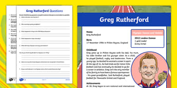 Great British Olympians: Greg Rutherford Differentiated Reading Comprehension Activity