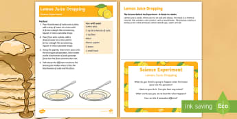 EYFS Lemon Juice Dropping Science Experiment and Prompt Card Pack - EYFS, Pancake Day,February, 28th, Shrove Tuesday, pancake, acid,