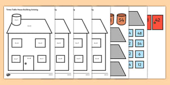 6 Times Table Active Picture Building Activity House - times table, times tables