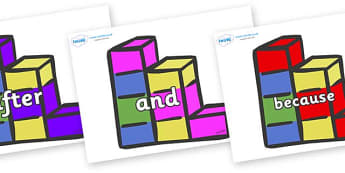 Connectives on Building Blocks - Connectives, VCOP, connective resources, connectives display words, connective displays