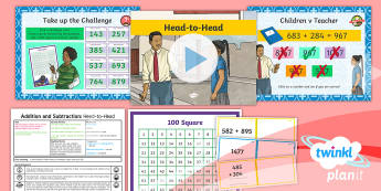 PlanIt Y3 Addition and Subtraction Lesson Pack Formal Written Methods (3) - Addition and Subtraction, add, more, plus, and, make, altogether, total, equal to, equals, double, m