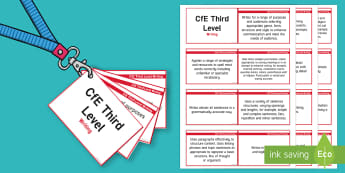 CfE Third Level Writing Lanyard-Sized Benchmarks - third level writing benchmarks assessment, cfe, scotland, literacy, writing, english, 3rd level, cur