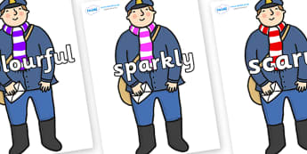 Wow Words on Jolly Christmas Postman to Support Teaching on The Jolly Christmas Postman - Wow words, adjectives, VCOP, describing, Wow, display, poster, wow display, tasty, scary, ugly, beautiful, colourful sharp, bouncy