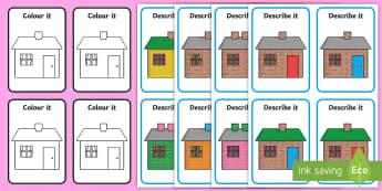 Describe It, Colour It Houses Game - speaking and listening, describing, extending sentences, listening games, attention, receptive langu