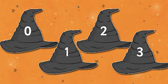 Numbers 0-30 on Witches Hats - Witch, hat, Foundation Numeracy, Number recognition, Number flashcards, 0-30, A4, display numbers, witch, broom, black cat