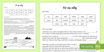 Tír na nÓg Cloze Procedure Activity Sheet - Tír na nÓg resources, Ireland, Na Fianna, Niamh, Fionn, Oisín, Land of Eternal Youth,Irish