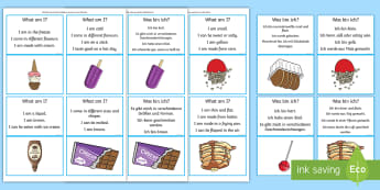 What Am I? Sweet Foods Guessing Game Cards - English/German - Inferences, comprehension, receptive language, semantic links, EAL, German, English-German,,German-t - Inferences, comprehension, receptive language, semantic links, EAL, German, English-G