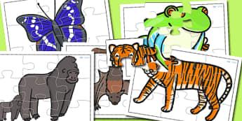 Jungle Animal Jigsaws - animals, jigsaw, games, animal games