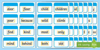 Year 2 Common Exception Words with Outline Flashcards -  key words, keywords, tricky words, vocabulary, spelling, Y2, Common, Exception Words, Outline, Flas
