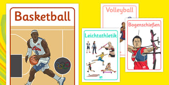 Rio 2016 Olympics Sport Posters German - german, Olympics, Olympic Games, sports, Olympic, London, 2012, display, banner, poster, sign, Olympic torch, flag, countries, medal, Olympic Rings, mascots, flame, compete, tennis, athlete, swimming, race