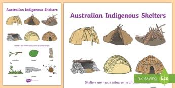 Aboriginal Shelter Display Poster - Aboriginal Huts - Humpies