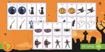 Tarjetas de emparejar: Halloween - tarjetas de emparejaR, COMPARAR, EMPAREJAR, español, spanish