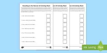 CfE First Level Walk to School Rounding to 10, 100 and 1000 Activity Sheets - CfE Walk to School Week (15th-19th May), JRSO, First Level, 1st Level, Numeracy resources, resources