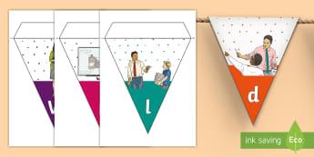 3-6 World Teachers' Day Display Bunting - Bunting, Display, Classroom, Visual,