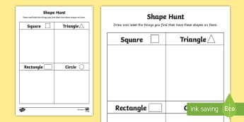 Shape Hunt Activity Sheet - Back to School, Junior Infants, 2D, worksheet, square, circle, rectangle, triangle, find, trail, fla