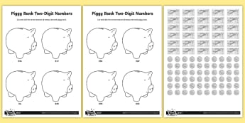 Piggy Bank Two-Digit Numbers Money Activity - Number and Place Value, multiples, times tables, steps of, counting on, problem solving, maths maste