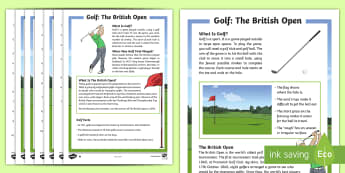 KS2 Golf Differentiated Reading Comprehension Activity - fact files, The British Open, English, Comprehension, non fiction text