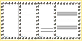 Gorilla Portrait Page Borders- Portrait Page Borders - Page border, border, writing template, writing aid, writing frame, a4 border, template, templates, landscape