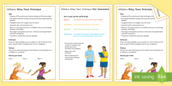 Athletics: Relay Team Task Techniques Card - Athletics, running, throwing, jumping, olympics, pe