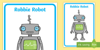 Robbie Robot Image Display Poster - robot, phonics, sound-talk,  letters and sounds, phonics, Metal mike