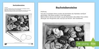 Buchstabensteine Anleitung für Lehrkräfte - Sommer, Jahreszeiten, Steine, Buchstabieren, Wörter, Kl.1/2, summer, seasons, stones, letters, word