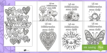 Mother\'s Day Mindfulness Colouring Pages Gaeilge - ROI, Mothers Day, Lá na Maithreacha, Colouring, Sheets, Mindfulness, Irish, mum, mammy, mummy, irel
