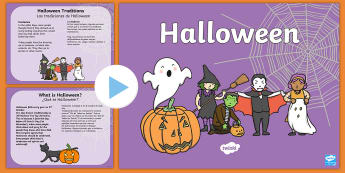 All About Halloween PowerPoint - halloween, information, traditions, pumpkin, October, celebration, festival, PowerPoint, ESL