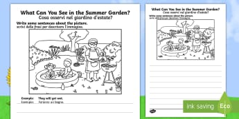Summer Garden Writing Stimulus Picture English/Italian - Writing, independent, early years, EYFS, literacy, CLL, seasons, EAL