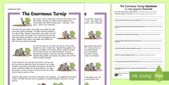 The Enormous Turnip Differentiated Reading Comprehension Activity English/Italian - Traditional Tales Reading Comprehensions, The Enormous Turnip, traditional tale, KS1 reading, compre