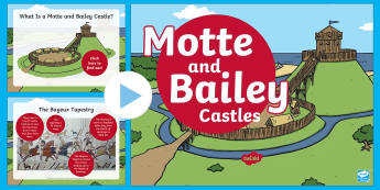 KS1 Motte and Bailey PowerPoint - KS1, history, Motte, Bailey, castle, defend, stone, wood, soldier, barracks, store, room, Norman, in