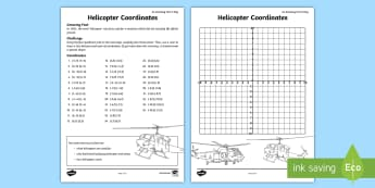 Helicopter Coordinates Activity Sheet - amazing fact august, coordinates, four quadrant, helicopter, plot the coordinates, coordinate activi