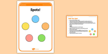 Foundation PE (Reception) Seek Your Spot Warm-Up Activity Card - physical activity, foundation stage, physical development, games, dance, gymnastics
