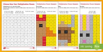 Chinese New Year Animals Multiplication Mosaics - Chinese New Year KS1. KS2, EYFS, Celebration, festivals, rooster, multiply, times, multiplication, m