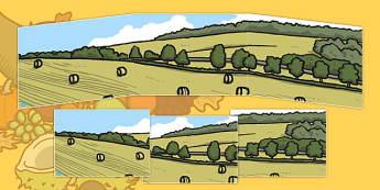Small World Background (Harvest) - Small World, backdrop, background, scenery, small world area, small world display, small world resources, harvest, harvest festival, fruit, apple, pear, orange, wheat, bread, grain, leaves, conker
