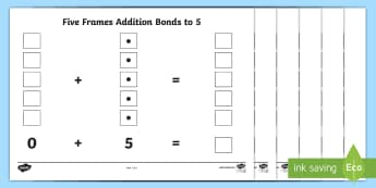 CfE Addition with Five Frames Activity Sheet - Number Frames, maths, numeracy intervention, number, counts, maths recovery, addition to 5, number b