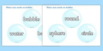 Water Area Words on Bubbles - Water area, bubble, bubbles, drop, droplet, water play, water, water display, splash, drop, drip, wet, float, sink