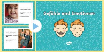 Gefühle und Emotionen PowerPoint - fühlen, Emotion, Gefühl, Gespräch, Unterhaltung, Diskussion, Gruppenarbeit,German
