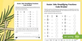 Easter Joke Simplifying Fractions Code Breaker Activity Sheet - NI, Easter, fractions, simplifying, numeracy, joke, code, breaking,Identify, name and write equivale