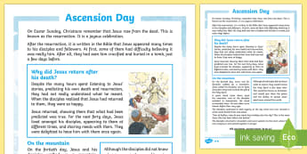 KS2 Ascension Day Differentiated Fact File - KS2 Ascension day (25.5.17), 25th May, Ascension, Jesus, disciples, Easter, forty days, fact file, r