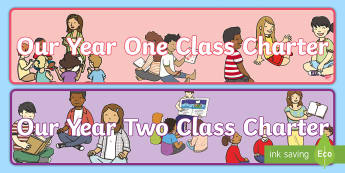KS1 Our Class Charter Display Banner - rules, behaviour, y1, y2, sorting