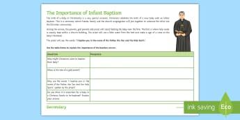 The Importance of Infant Baptism Activity Sheets - religious ceremony, celebration, initiation, religious significance, worksheet
