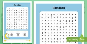 Ramadan Word Search - Ramadan, Eid, Qur'an, Muslim, Islam