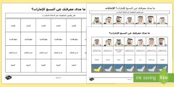 ما مدى معرفتك عن السبع الإمارات؟ أوراق عمل