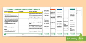 Fframwaith Cymhwysedd Digidol Cynllunio Gwag i Flwyddyn 5 Poster Arddangos  - Digital Competence Framework, Fframwaith Cymhwysedd Digidol, Cynllunio, Cyfnod Allweddol 2, Blwyddyn