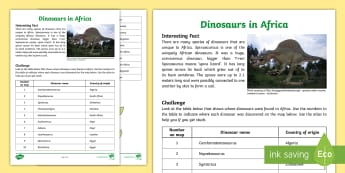 Dinosaurs in Africa Activity Sheet - Heritage Day, dinosaurs, Africa, History, countries in africa, map work, Spinosaurus, worksheet, dat