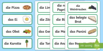 Nahrungsmittel Wortschatz: Wort und Bildkarten - Essen, Ernährung, gesund, ungesund, essen, Nahrungsmittelkunde,German
